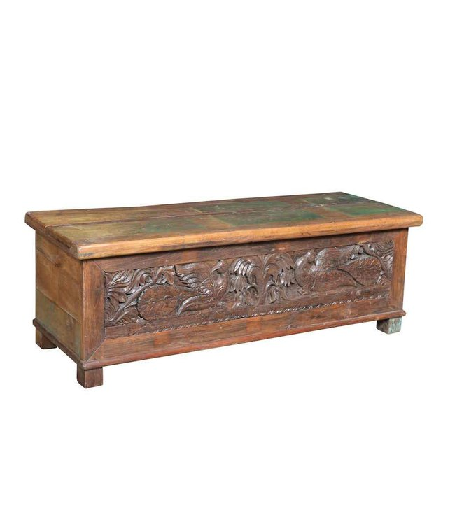 India - Old Furniture Hand Carved Trunk