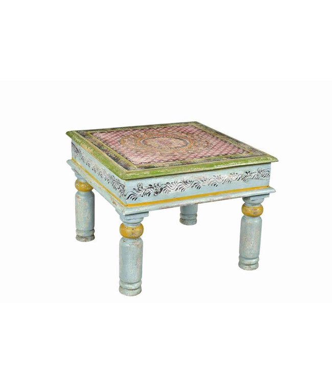 India - Old Furniture Square Painted Coffee Table