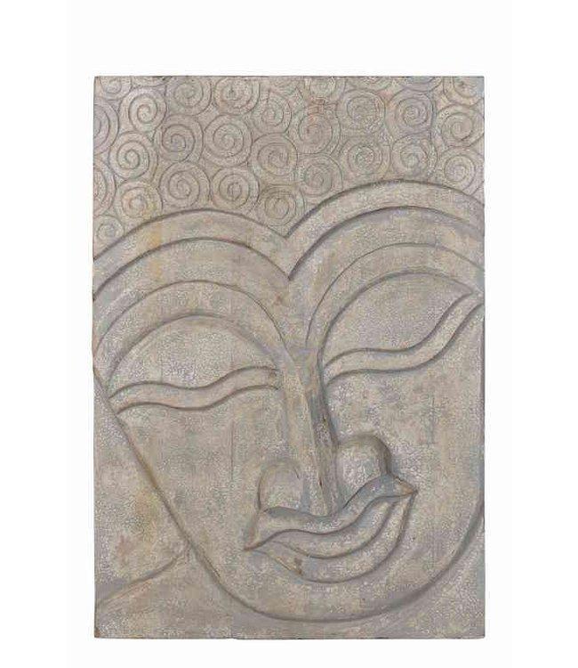 India - Old Furniture Buddha Plaque - Teak/Mango Wood