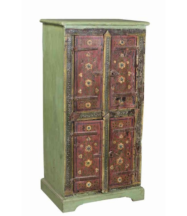 India - Old Furniture Painted Original Cabinet