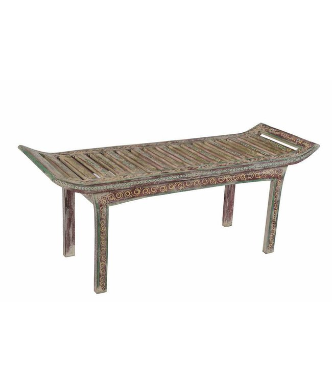 India - Old Furniture Carved Painted Wooden Bench