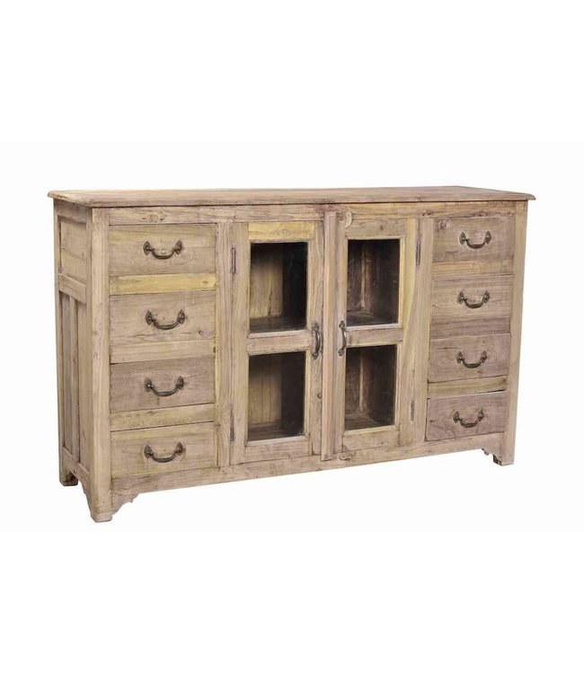 India - Old Furniture 8 Drawer 2 Door Teak Sidebaord