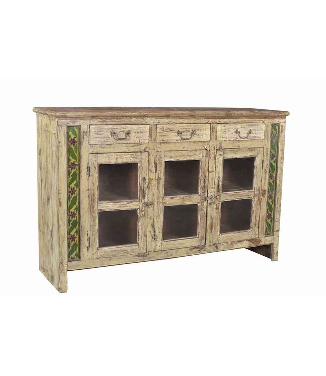 India - Old Furniture Painted Sideboard with Tiles