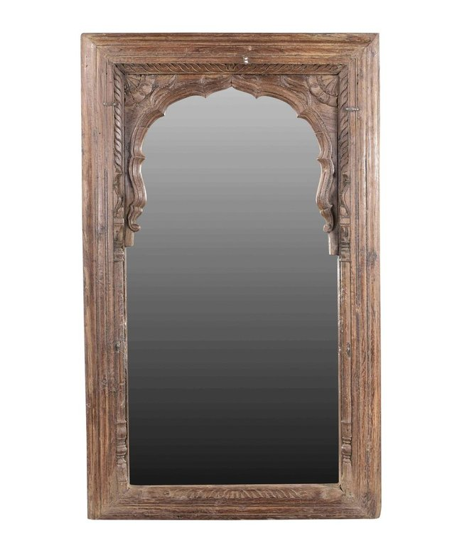 India - Old Furniture Large Carved Wooden Mirror