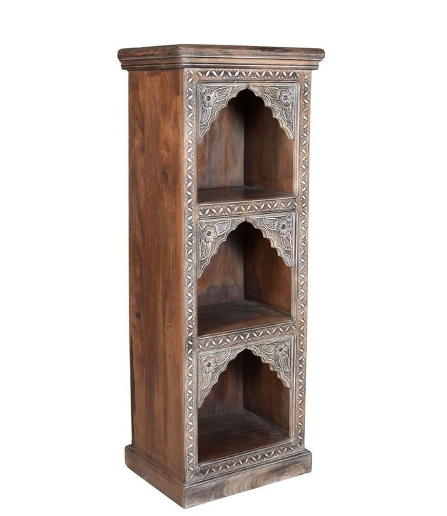 India - Old Furniture Triple Arched Carved Bookcase