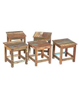 India - Old Furniture Mini Reclaimed Teak Stool