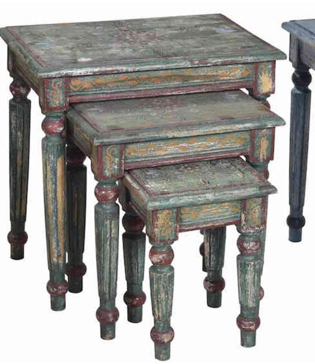 India - Old Furniture Set of three Painted tables  - Green