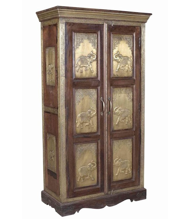 India - Old Furniture Indian Almirah with Brass Panels