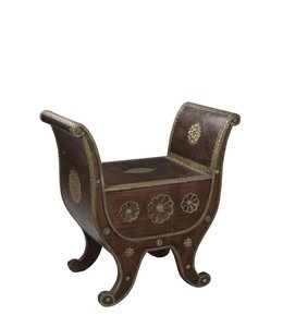India - Old Furniture Brass Embellished Seat
