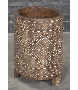 Wooden Tribal Container with Bone Inlay