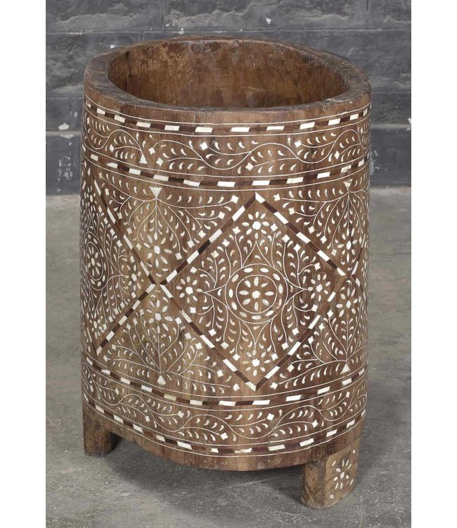 India - Old Furniture Wooden Tribal Container with Bone Inlay