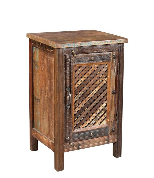 India - Old Furniture Bamboo Jali Bedside cabinet