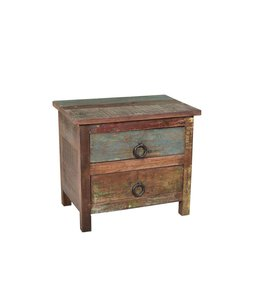 India - Old Furniture Small Reclaimed Teak Chest of Drawers