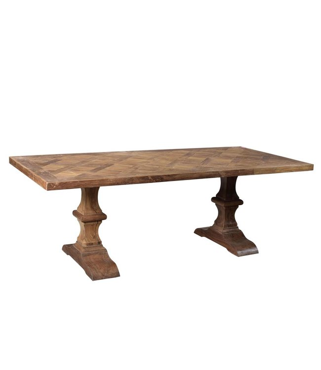 India - Old Furniture Reclaimed Teak Refrectory Style Dining Table