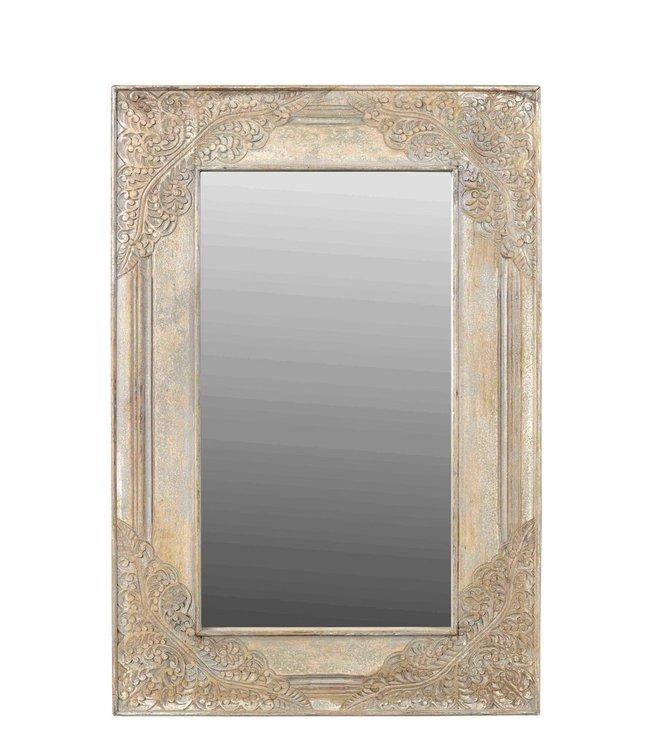 India - Old Furniture Brass Embellished Mirror
