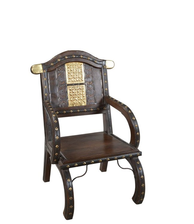 India - Old Furniture Cart Style Brass Embellished Chair