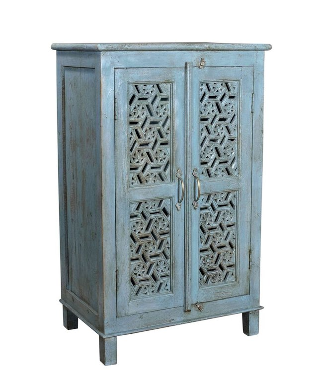 India - Old Furniture Painted cabinet with intricate Jali style doors