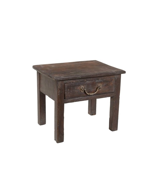 India - Old Furniture Small Recalimed Teak Side Table