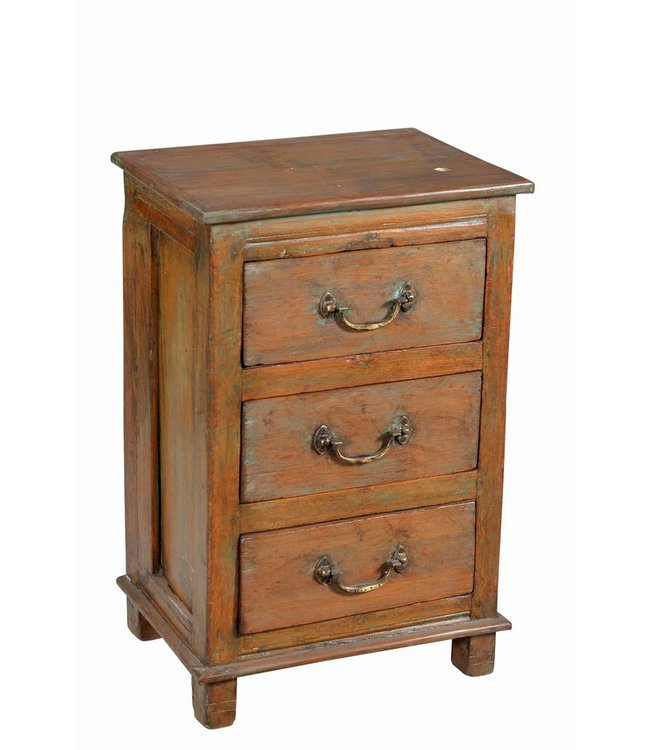 India - Old Furniture Three Drawer Bedside Cabinet
