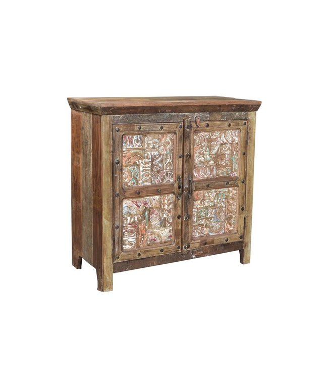 India - Old Furniture Cabinet with Carving Patchwork on the Doors