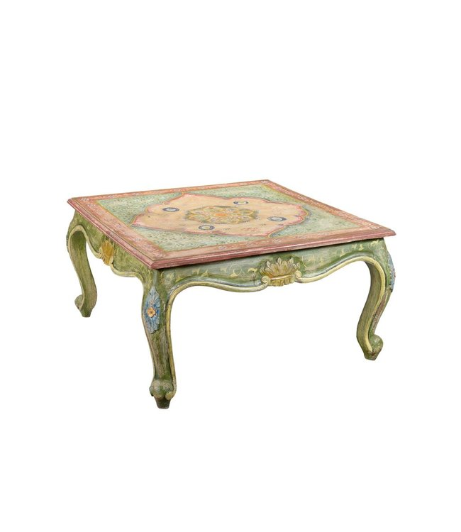 India - Old Furniture Hand Painted Opium Style Table