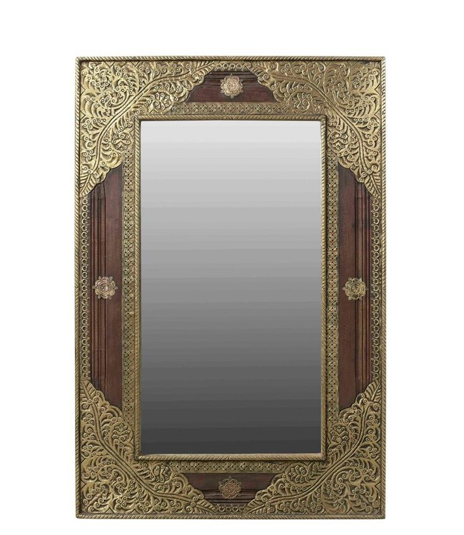 India - Old Furniture Mirror with Embossed Brasswork