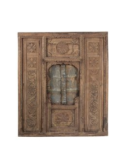 India - Old Furniture Old Indian Carved Window and Wall Panel