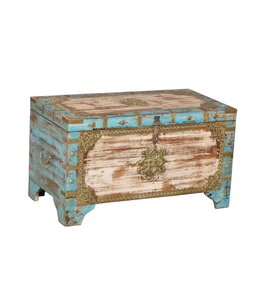 India - Old Furniture Painted Chest with Brass Detail