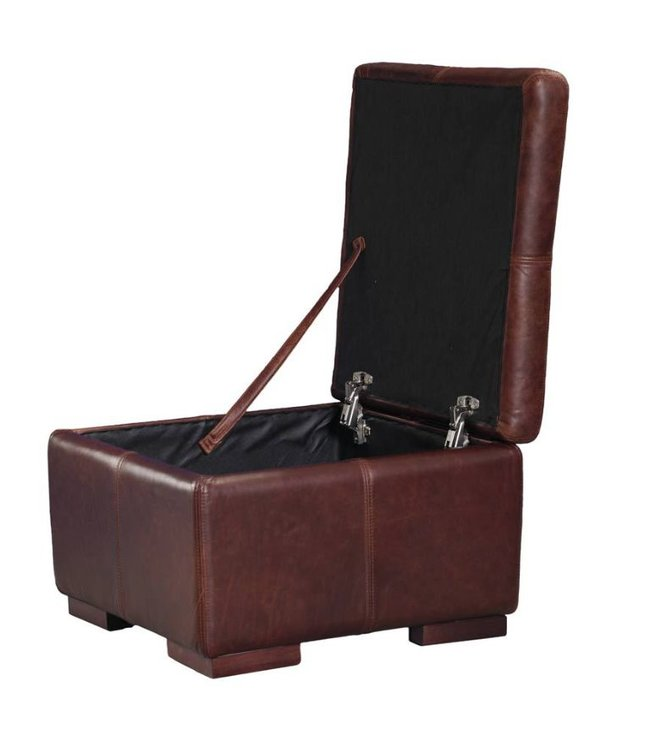 Leather Footstool (Medium) 60 x 60 x 40h cms