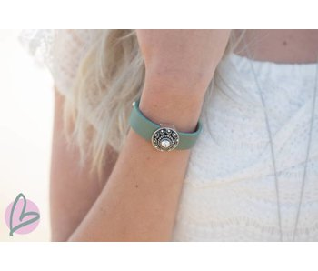 Zeeuws Zeegroene leren armband met zeeuwse knop