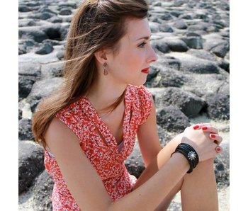Zeeuws Zwarte leren driedubbele armband
