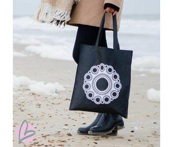 Zeeuws Zeeuws knop boodschappentasje/shopper zwart