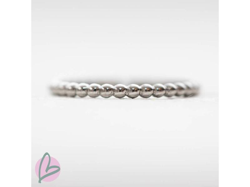 IXXXI aanschuif ring zilver 'bolletjes' 2mm