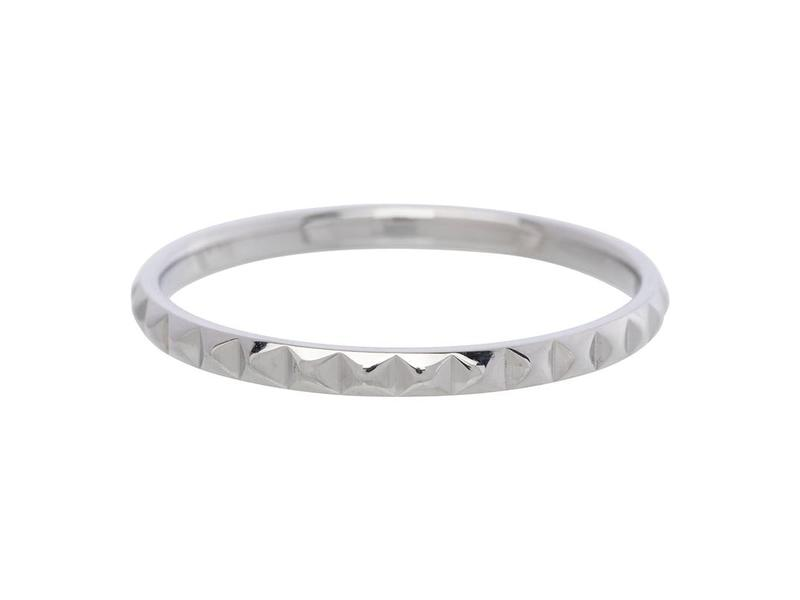 IXXXI aanschuif ring zilver piramide 2mm