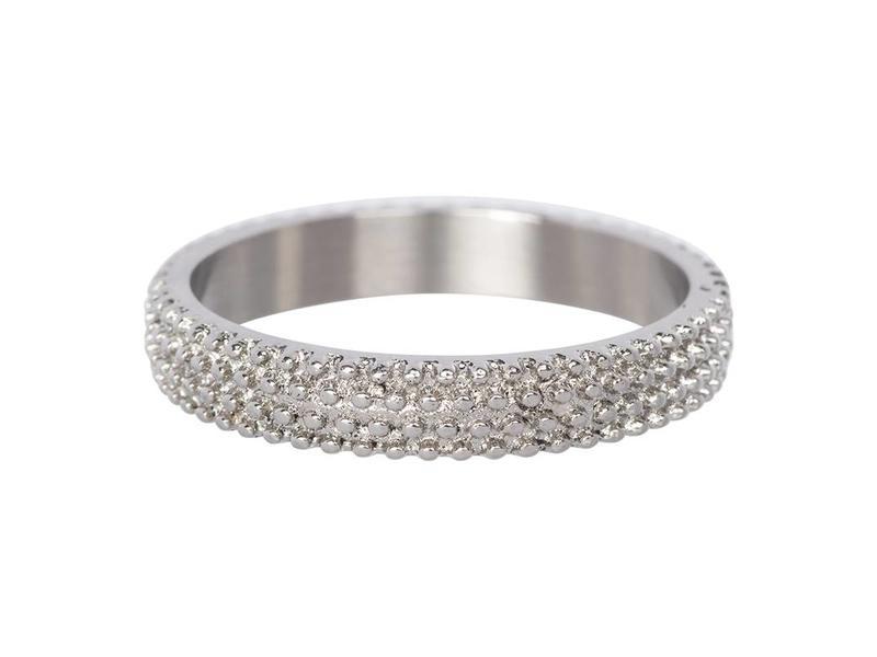 IXXXI aanschuif ring zilver 'kaviaar' 4mm