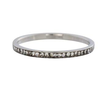 IXXXI aanschuif ring zilver 'zirconia cristal' 2mm