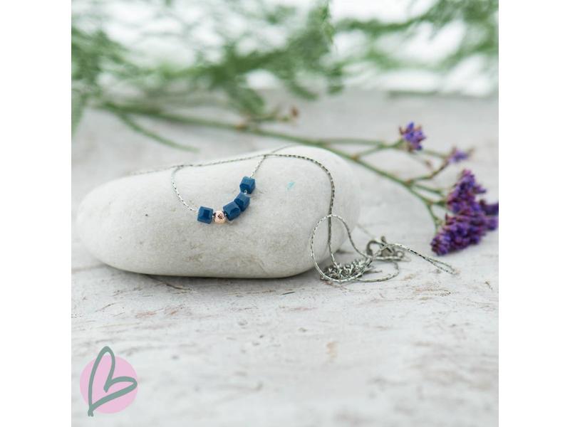 ZAG Bijoux ketting zilver met blauwe blokjes