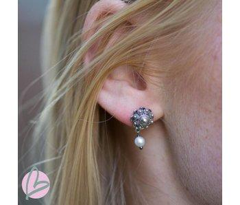 Zeeuws Echt zilveren Zeeuwse knop oorstekers met parel