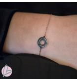 ZAG Bijoux armband rosegoud muntje ''bonheur, chance, amour''