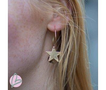 Viva goudkleurige oorringen met bruine druppel en ster