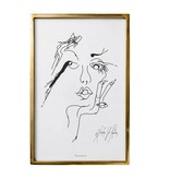 Bloomingville Cadre Gold Sketched Woman
