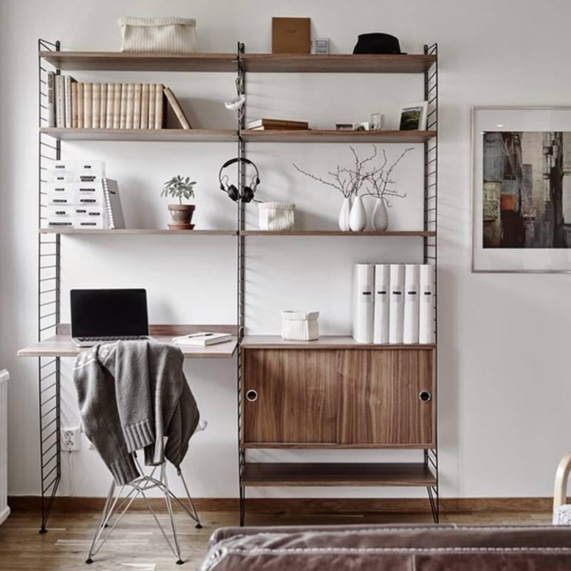 op zoek naar een wandrek met bureau medium zwart walnoot van string gratis levering livingdesign. Black Bedroom Furniture Sets. Home Design Ideas
