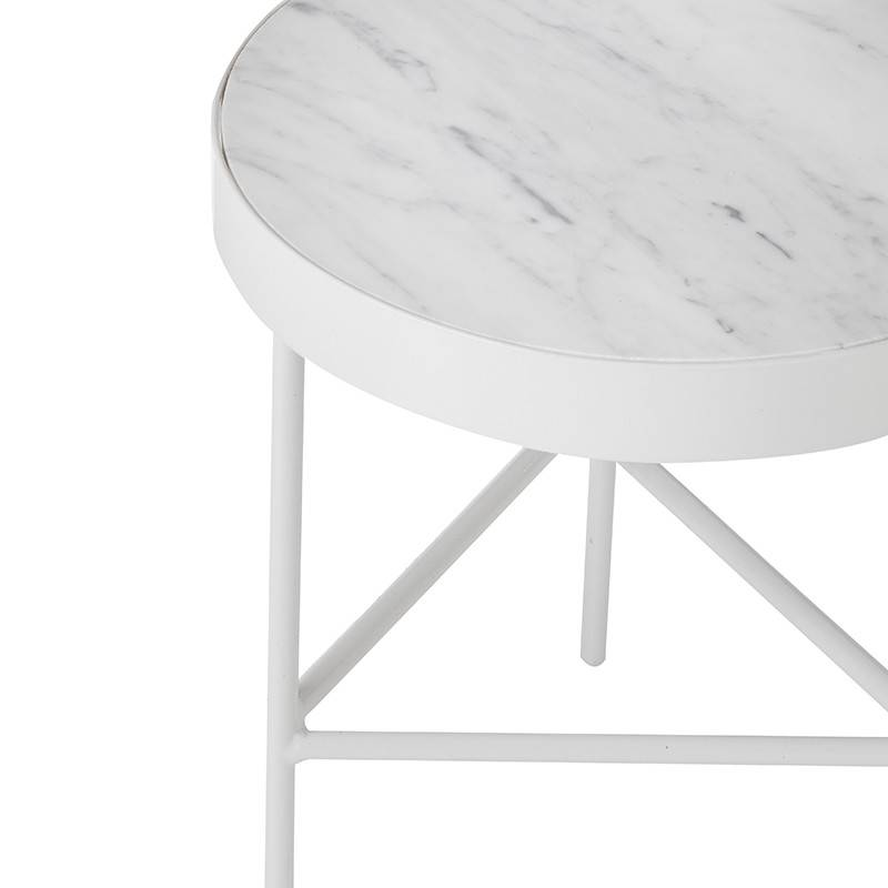 Fermliving Table d'appoint en marbre blanc