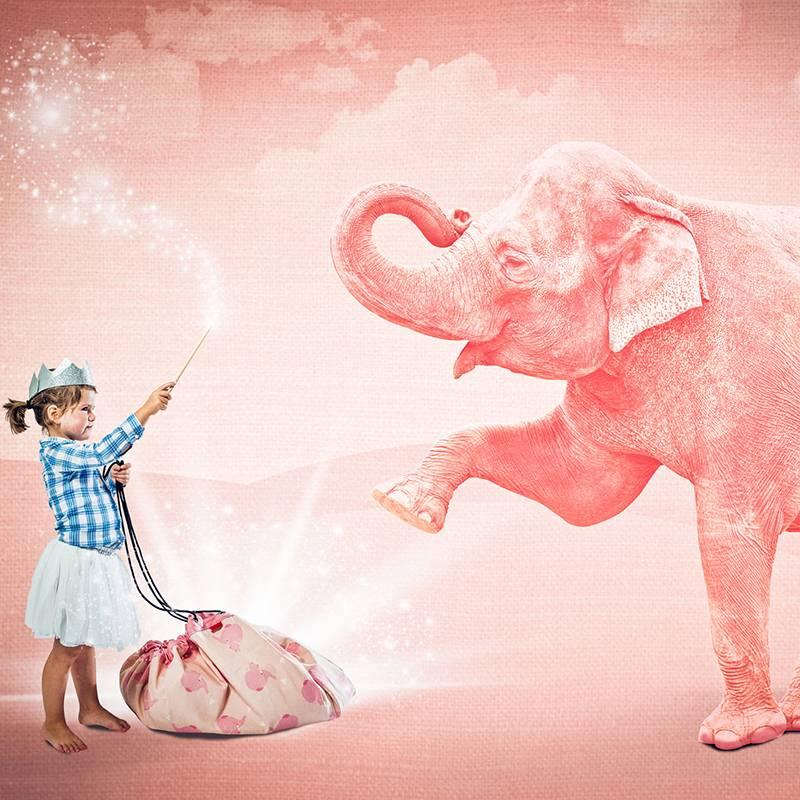 Play&Go Pink Elephant Opbergzak/ speeltapijt
