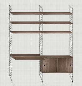 String Wandrek met bureau Medium zwart/walnoot