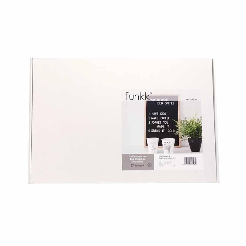 Funkk Tableau à lettres M feutre noir cadre chêne (incl lettres)