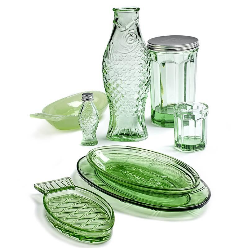 Serax Plat ovale S Fish&Fish vert transparant