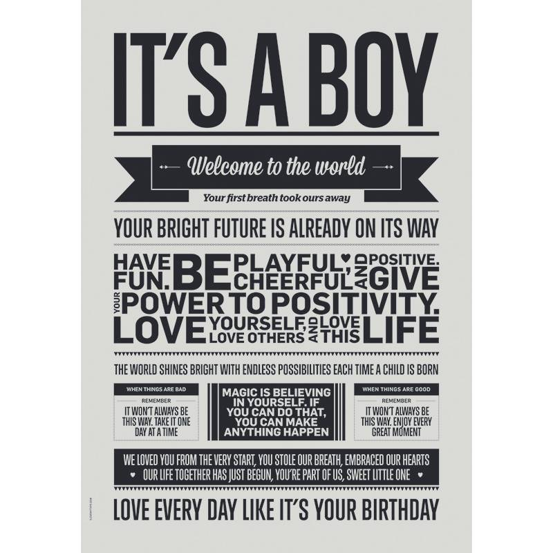 I Love My Type Poster 'It's a boy'
