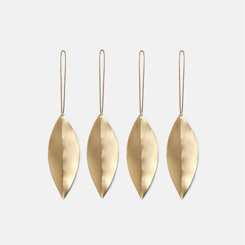 Fermliving Pendule noël feuillesmessing (set 3pc)