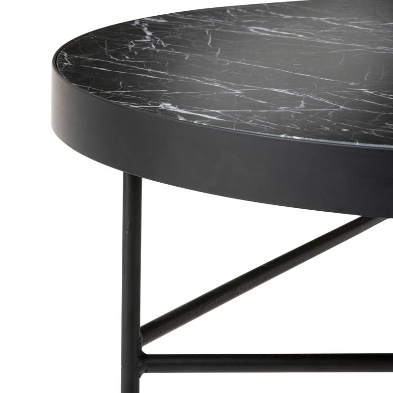 Fermliving Table d'appoint en marbre noir